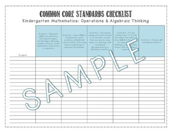 CCSS Mathematics Kindergarten Student Checklist - Tracking Progress