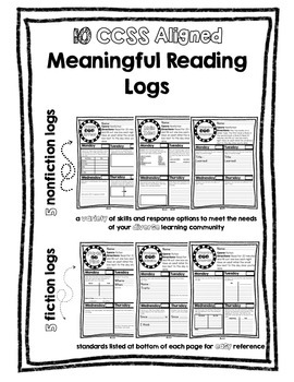 CCSS Meaningful Reading Logs - no prep!