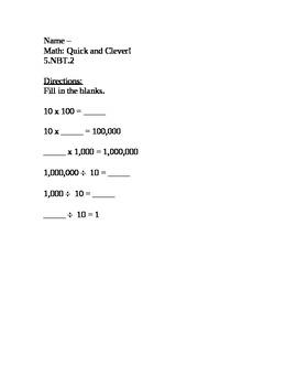 CCSS Module 1, Ten Minute Math 4