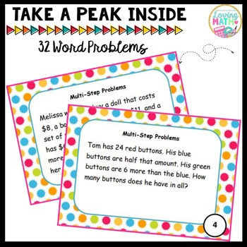 Multi-Step Word Problem Task Cards   ADD SUBTRACT MULTIPLY DIVIDE