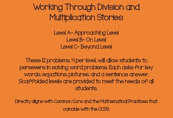 CCSS Multiplication/Division: *Leveled* Word Problems/tasks