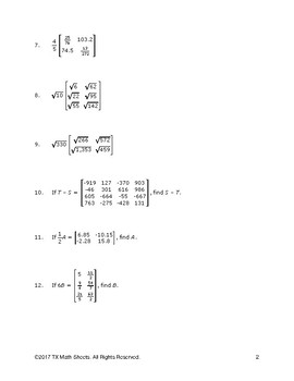 CCSS N-VM.7 Multiply matrices by a scalar