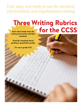 CCSS Narrative, Informational, Argumentative Writing Standards Rubrics