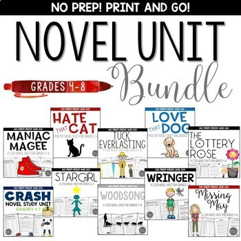 Novel Study Unit Bundle for Grades 4-8 Common Core Aligned