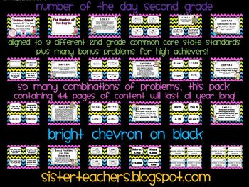 Bright Chevron on Black- Common Core Number of the Day Display Pack-2nd grade