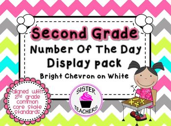 Bright Chevron on White- Common Core Number of the Day Display Pack-2nd grade