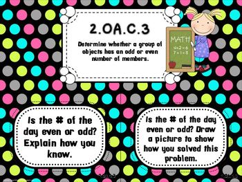 Bright Dots on Black- Common Core Number of the Day Display Pack-2nd grade