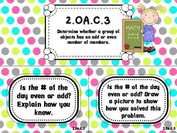 Bright Dots on White- Common Core Number of the Day Display Pack-2nd grade