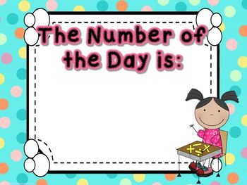 Dots on Aqua- Common Core Number of the Day Display Pack-2nd grade