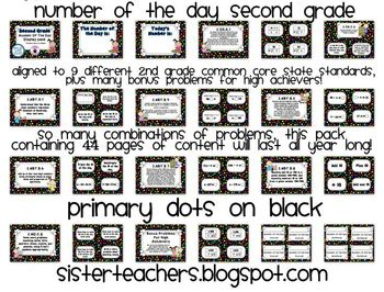 Primary Dots on Black- Common Core Number of the Day Display Pack-2nd grade