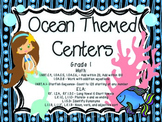 CCSS Ocean ELA and Math Centers (Bundle)- Grade 1