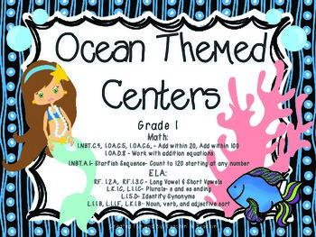 CCSS Ocean ELA and Math Centers (Bundle)- Grade 1
