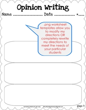 Opinion Writing Unit - CCSS Anchor Charts & Generic Topic Writing Templates