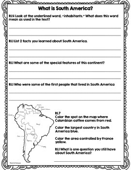 CCSS Passport to the Continents: South America - 8 Text Close Reading Bundle