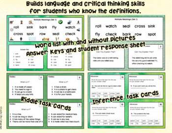 Homonyms Bundle Set 1 Learning and Applying Multiple Meanings Task Cards
