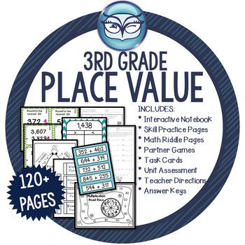 Place Value Math Unit Grade 3 - CCSS aligned