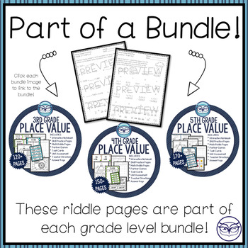 CCSS Place Value Riddle Worksheets - Grade 5