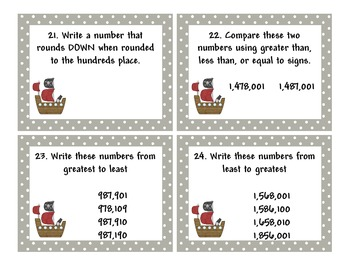 CCSS Place Value Rounding Comparing Numbers Scoot Pirate Game