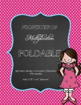 CCSS: Properties of Multiplication Flipbook Foldable for Interactive Notebooks