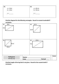 CCSS Pythagorean Theorem Unit for Grade 8 Math