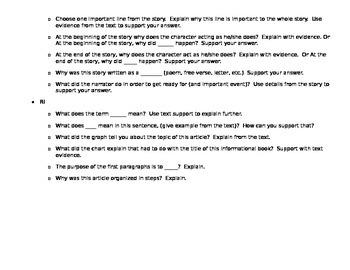 CCSS Question Prompts: 3rd Grade