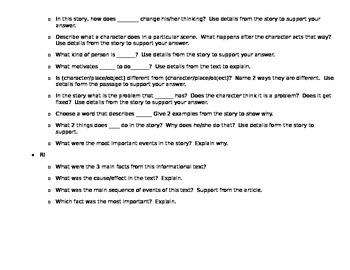 CCSS Question Prompts: 4th Grade