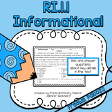Ask and Answer Questions Informational Nonfiction CCSS RI1.1 FREEBIE