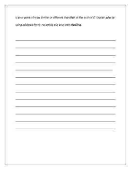 CCSS RI 3.6 Point of View and W 3.1 Opinion writing with rubric / Close reading