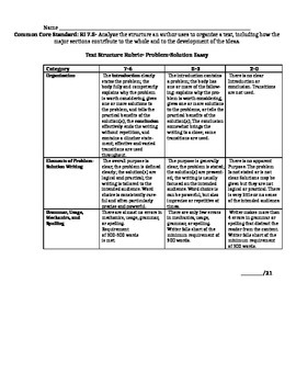 CCSS RI 75 Problem And Solution Essay Rubric By Enthusiast