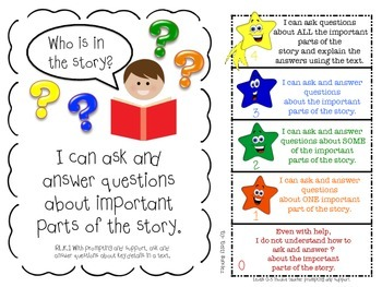 Common Core Kindergarten ELA (Rl & RL) Goals with Graphics & 2 Rubrics