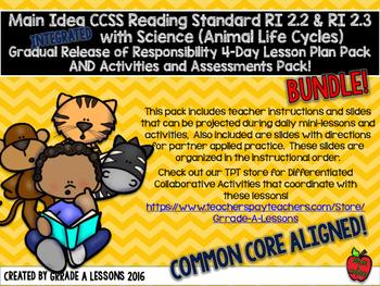 CCSS RI2.2 & RI2.3 w/Animal Life Cycles Gradual Release Lesson & Activity BUNDLE