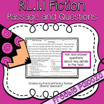 CCSS RL1.1 Ask and Answer Questions Fiction - Passage and Questions FREEBIE
