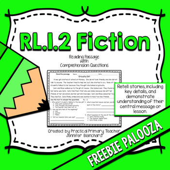 Retell Stories with Central Message Passage and Questions CCSS RL1.2 FREEBIE