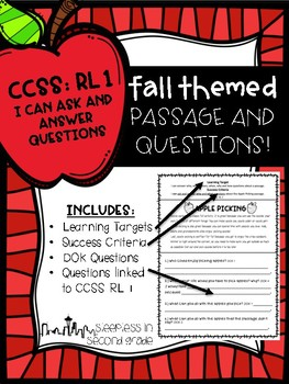 CCSS: RL.1 Fall Passage and Questions