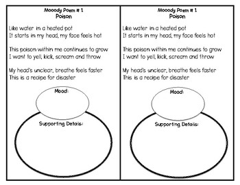 CCSS RL.3.7 and RL.3.5 -- Identifying Mood in Poetry -- Book of Moody Poems
