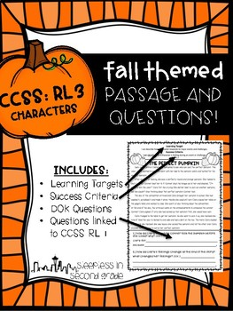 CCSS RL.3 Fall Passage and Questions