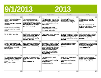 CCSS Reader's Workshop Unit 1 Calendar