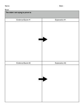 CCSS Reading Anchor Standard 1 Graphic Organizer