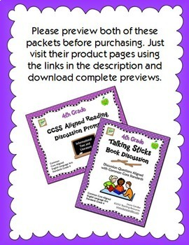 4th Grade CCSS Reading Discussion Activity and Task Cards Bundle