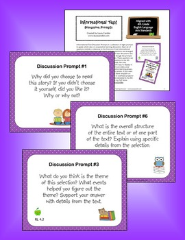 4th Grade CCSS Reading Question Prompts for Whole Group Discussion