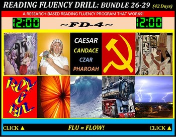 CCSS: Reading Fluency Drills 26-29. BUNDLED All With Prediction Graphics!
