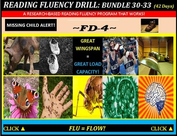 CCSS: Reading Fluency Drills 30-33. BUNDLED All With Prediction Graphics!