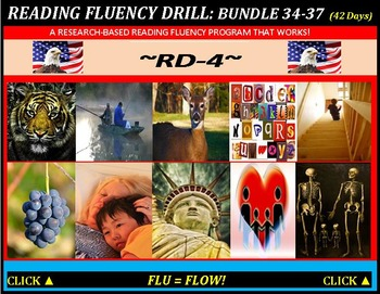 CCSS: Reading Fluency Drills 34-37. BUNDLED All With Prediction Graphics!