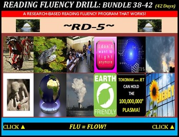 CCSS: Reading Fluency Drills 38-42. BUNDLED All With Prediction Graphics!