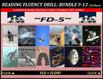 CCSS: Reading Fluency Drills 9-13. BUNDLED with Pre-Reading Prediction Graphics!