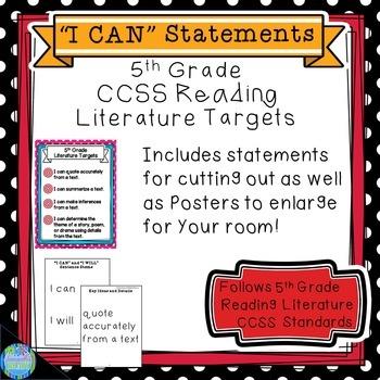 CCSS Reading Literature Standards 5th Grade