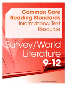 CCSS Reading Standards: Informational Text Resource--World Lit (Grades 9-12)