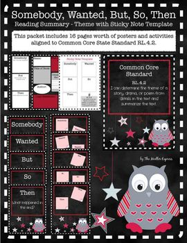 Owl Theme SWBST Reading Summary w/ sticky note template - Organizer - CCSS