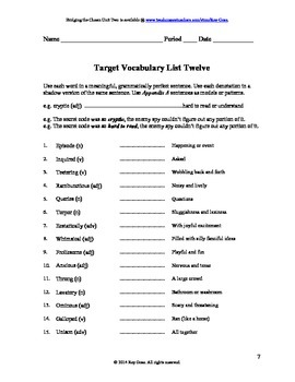 CCSS: Reading, Writing, & Vocab  Unit-12: Supports Cavanaugh's Miss Awful!