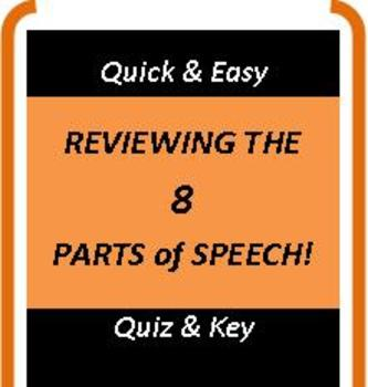 CCSS: Review the 8 Parts of Speech! Comes With Quiz & Key!